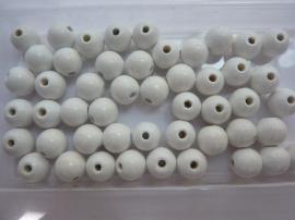 6020 009- 50 stuks houten kralen wit 10mm