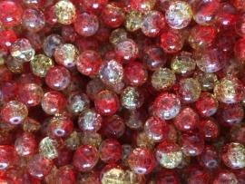 C217- 25 stuks crackle glaskralen van 10mm duocolor rood/geel