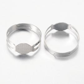 5 stuks verstelbare ringen met lijmplaatje van 7.5mm staalkleur