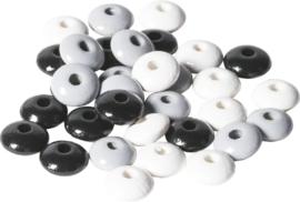 KN6023565- 33 stuks houten woodlens kralen 10mm zwart/wit/grijs