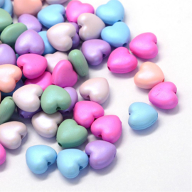 C390- 30 stuks acryl kralen hartjes 11x10mm kleurenmix