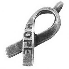D77- 10 stuks zwaar metalen bedel/hanger Pink Ribbon `hope` zilver 18x7.5mm