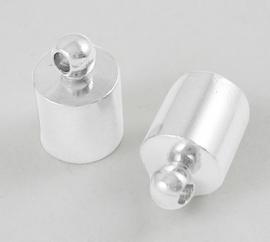 10 stuks koordkapjes 9.5x6mm zilverkleur