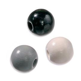 6024650-155 stuks houten kralenmix zwart/wit/grijs 4mm