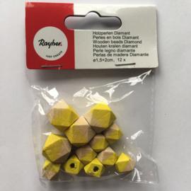 RA12201156- 12 stuks houten kralen diamant 1.5cm + 2cm naturel/geel