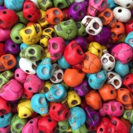 C96- 14 stuks edelsteen howliet skull kralen kleurenmix 9x7mm