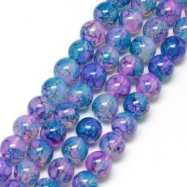 C81- ruim 90 stuks painted glaskralen imitatie opalite 6mm blauw/paars