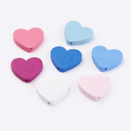 10 stuks houten kralen hartjes 21x23.5x5mm kleurenmix