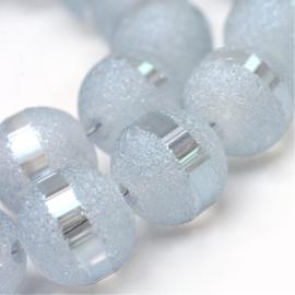 C280- 20 stuks electroplated stardust glaskralen 9mm grey