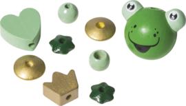6023642- houten kralenmix kikker
