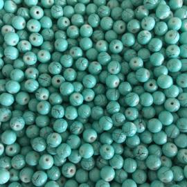 C316- ca. 100 stuks glaskralen drawbench 6mm turquoise/mint