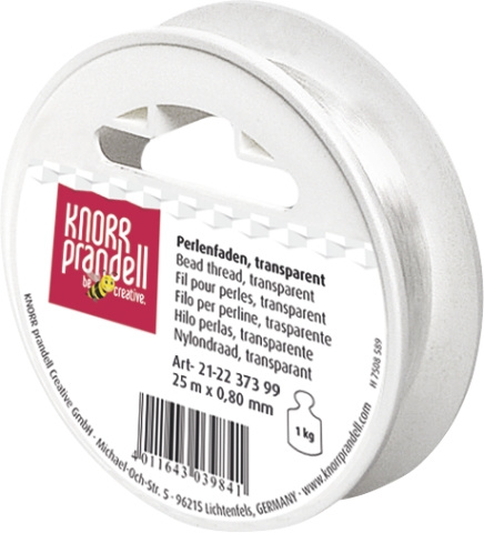 KN2237399- 25 meter nylondraad transparant 0.80mm