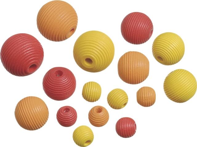 216023111- 20 stuks houten kralen mix geribbeld rood/geel/oranje 10 tot 20mm