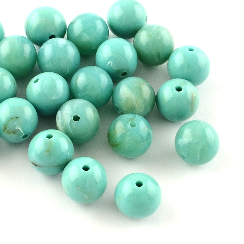 C383- ca. 100 stuks imitation gemstone acryl kralen 6mm turquoise