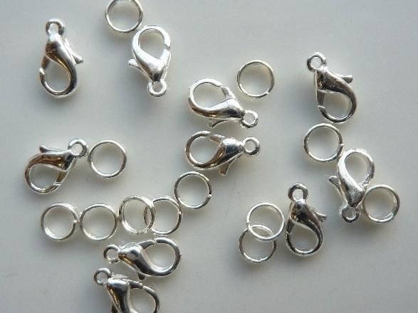 10 stuks karabijnersluitingen 12mm (standaard formaat) zilverkleur + dubbele ringetjes