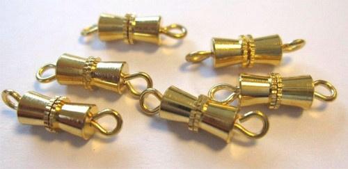 430506/1222- 6 stuks schroefsluiting bow van 10mm goudkleur