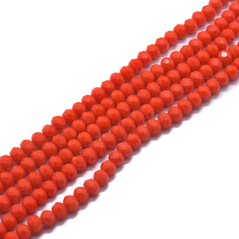 C340.E- ca. 100 stuks abacus facet geslepen glaskralen 6x4mm orange red