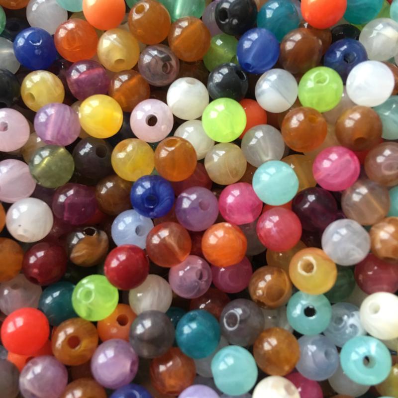 C389- ca. 100 stuks acryl kralen 6mm imitation gemstone kleurenmix