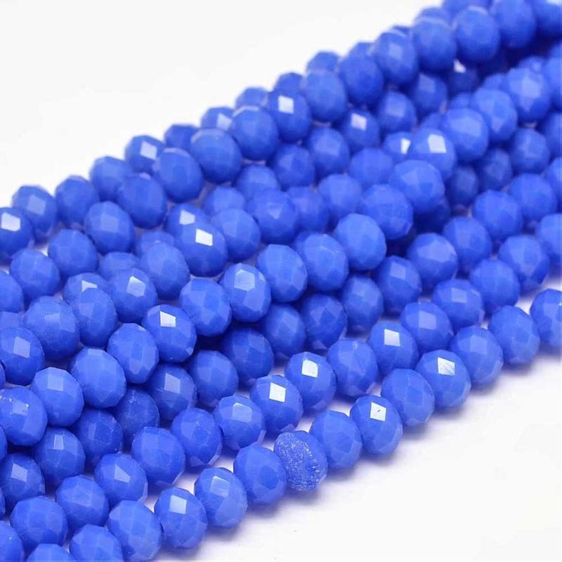 C340.D- ca. 100 stuks abacus facet geslepen glaskralen 6x4mm royalblue