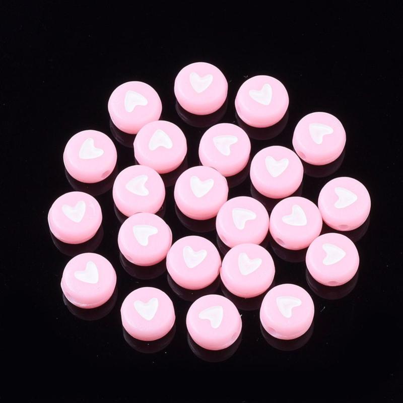 30 stuks letterkralen hartjes roze/wit - als aanvulling voor letterkralen 7x4mm
