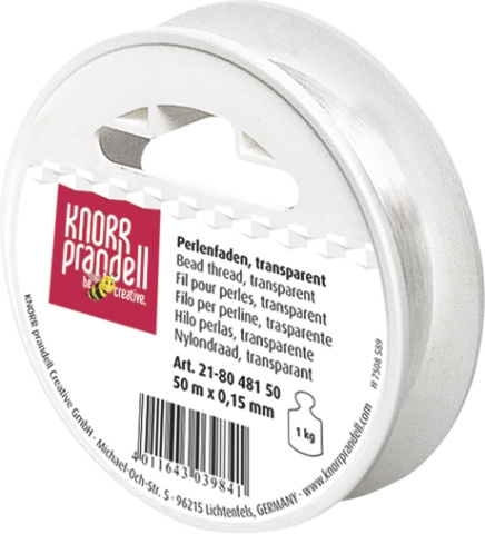 KN218048150- 50 meter nylondraad transparant 0.15mm