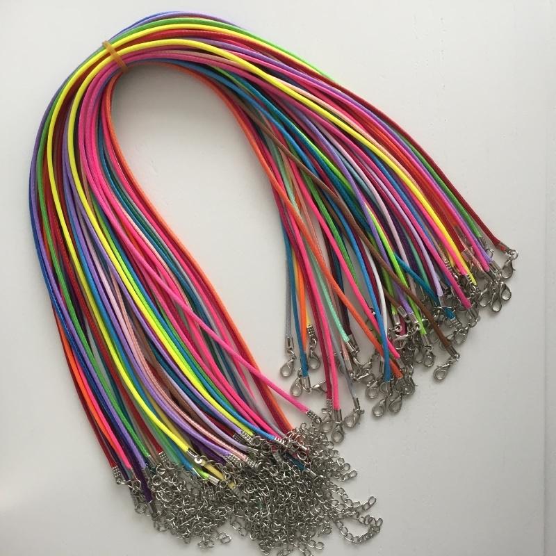 10 stuks kant en klare halsketting wax koord  46cm kleurenmix