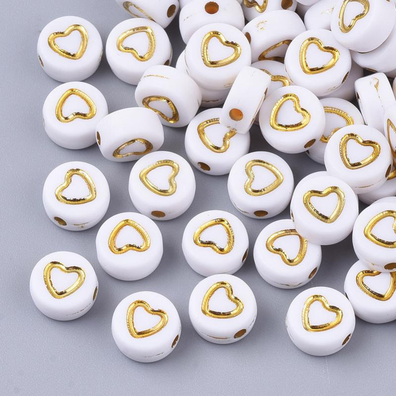 30 stuks letterkralen hartjes goud - als aanvulling voor letterkralen 7x4mm
