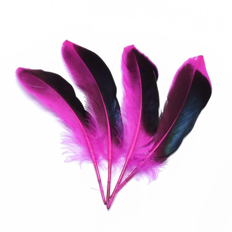 50 stuks veren roze/zwart 11 tot 16cm