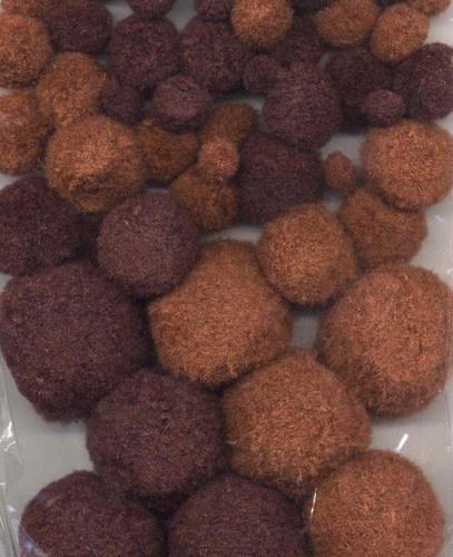 CE800600/3316- 50 stuks pompom mix bruin tinten 1 tot 2.5cm