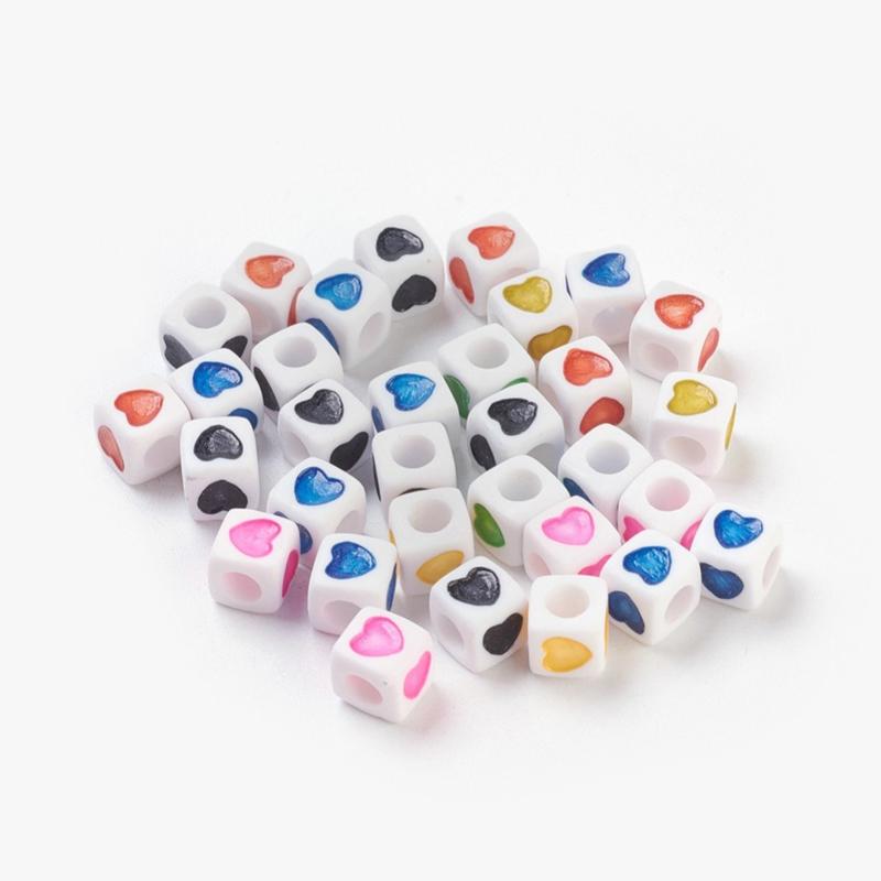 losse hartjes als aanvulling voor letterkralen kleurenmix 7x7mm - per 20 stuks