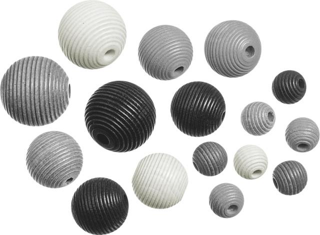 6023165- 20 stuks houten kralen mix geribbeld zwart/wit/grijs 10 tot 20mm