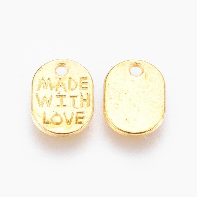 D79- 12 stuks bedels met tekst 'MADE WITH LOVE' 11x8mm goudkleur