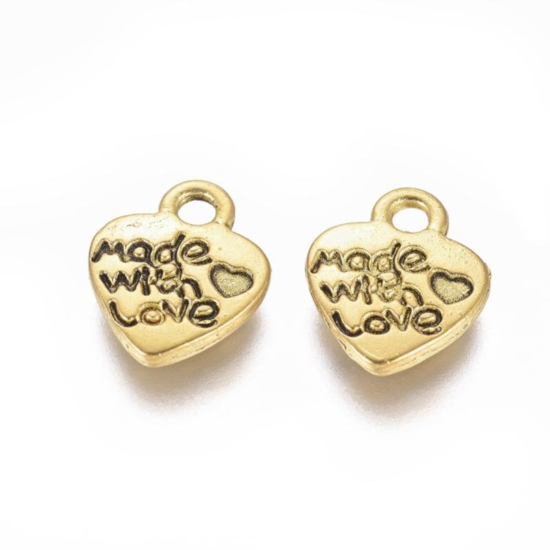 """D85- 10 stuks hangers/bedels hartjes """"made with love"""" goud 12x9.5mm"""