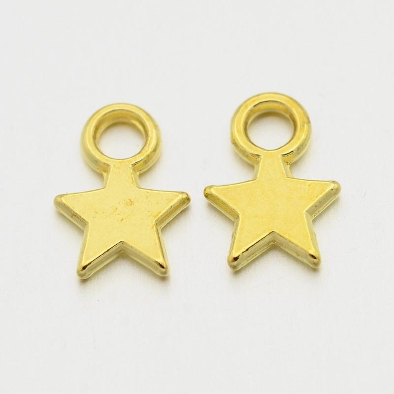 D87- 20 stuks metalen bedels sterren 12x9mm goud