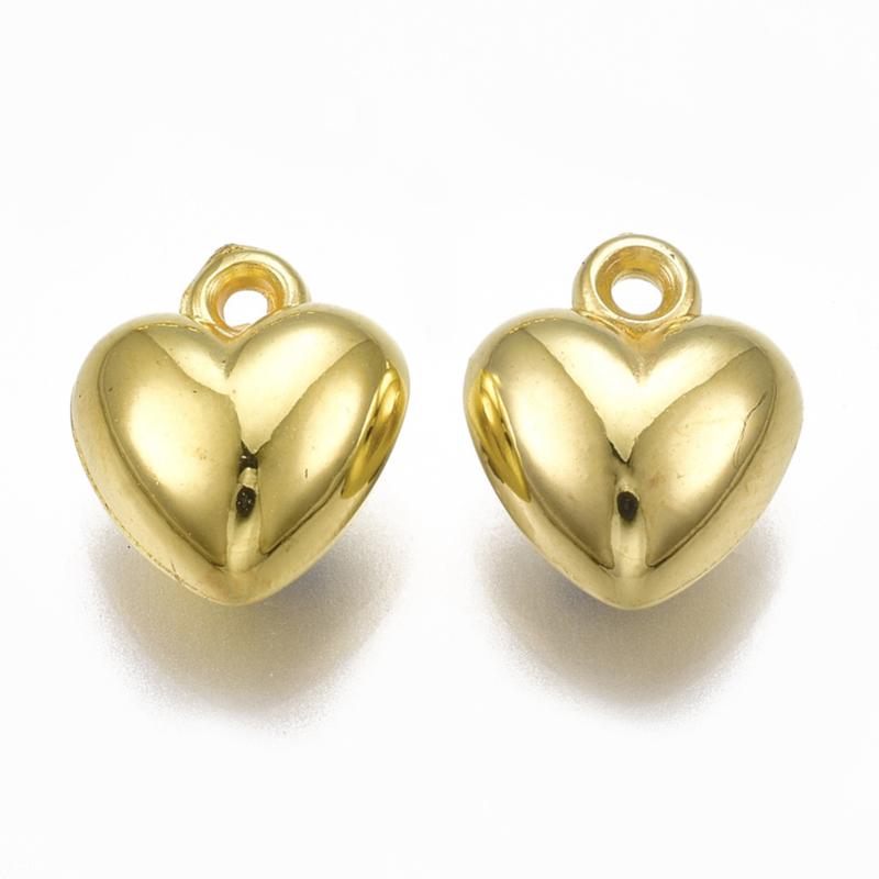 D81- 12 stuks bedels hartjes 11x9.5x6mm goudkleur
