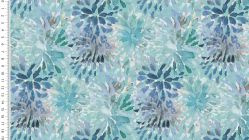 French terry digital  abstract flowers