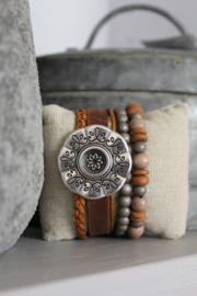 Armband met bloem roodbruin