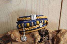 Kobalt blauw met oker gele armband