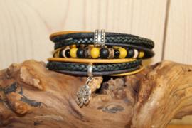 Zwart met oker gele wikkelarmband incl bijpassende kralenarmbandje