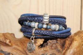 Kobalt blauwe  met donker blauwe wikkelarmband