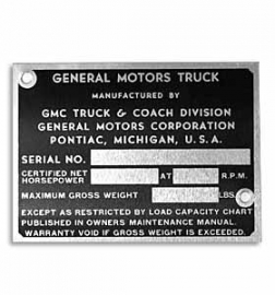 Door Post ID Plate.  1947-52  GMC