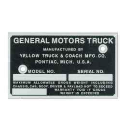 Door Post ID Plate - GMC  1936-46