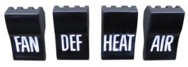 Deluxe Heater Control Knob Set  1960-63