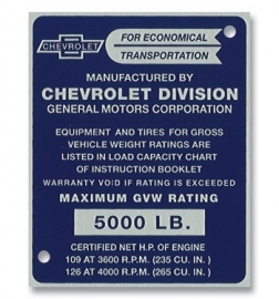 2-250.  Door Post ID Plate.  1955.  Chevrolet