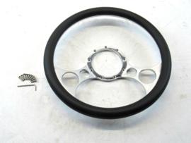 Billet Aluminum 14'' Steering Wheel Half Wrap Black Leather (9 Hole)
