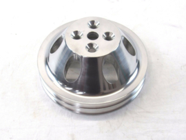 SBC 350 Aluminum 2 Groove Short Water Pump Pulley Polished