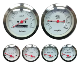 Gauge Metric  With  Mechanical Speedo.   White.