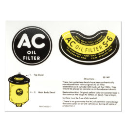 "1947-55 GM  Truck  AC  ""Oli Filter Canister Decal"