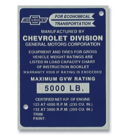Door Post ID Plate.  1956-57.  Chevrolet