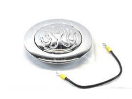 Chrome Aluminum Steering Wheel Horn Button Flamed